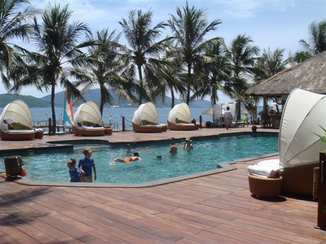 Green Sukabumi Stone for Pool in Vietnam Project - Ana Mandara Resort Pool
