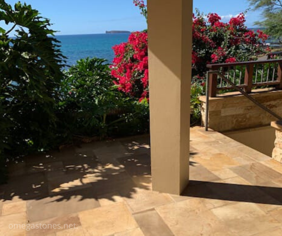 Beauty Bali Golden Yellow Sandstone Application in Hawaii Project by Stone Depot