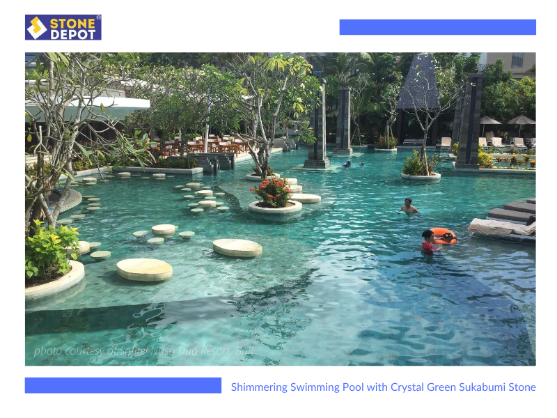Sukabumi Green Stone Tiles  – Sparkling Swimming Pool with Crystal Sukabumi Green Stone Tiles