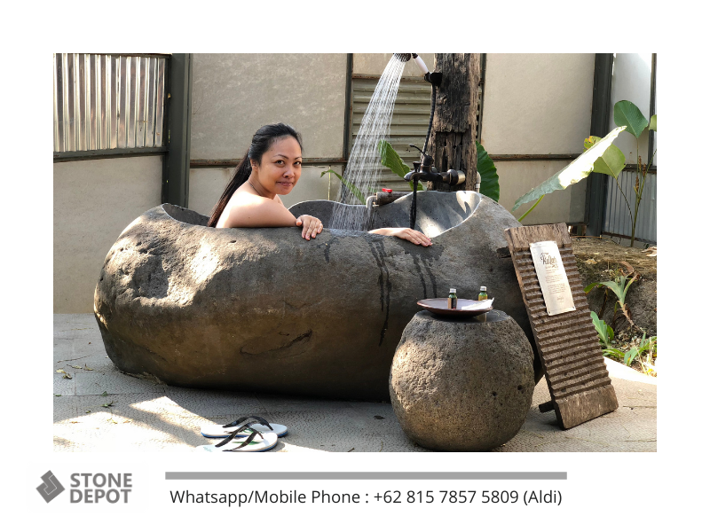 The Exotic of Bali Stone Bath for Balinese Bathroom Style