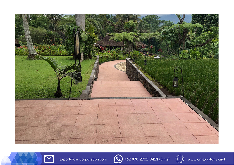 Beautiful Pink Terrazzo Pavers For The Fresh Outdoor MesaStila Spa & Resort, Magelang