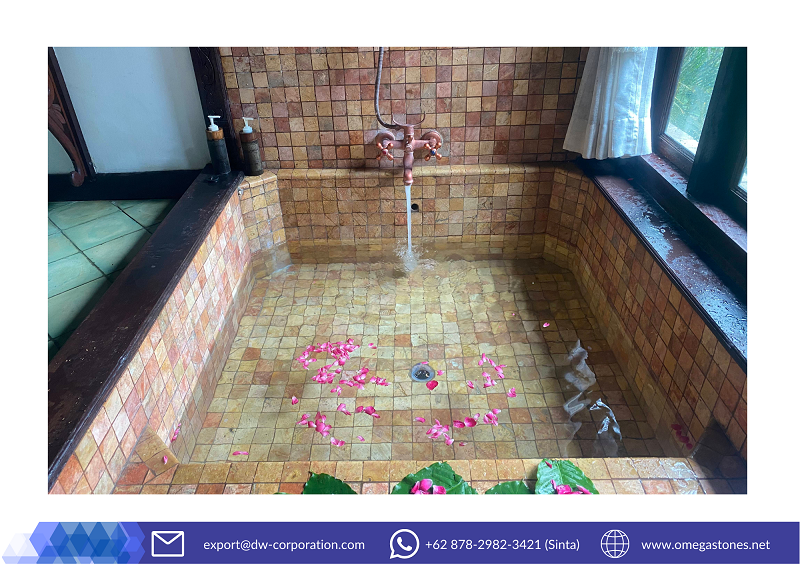 Discover This Romantic Bathtub Made with Java Red Marble Pacito Rosso at MesaStila Spa & Resort, Magelang