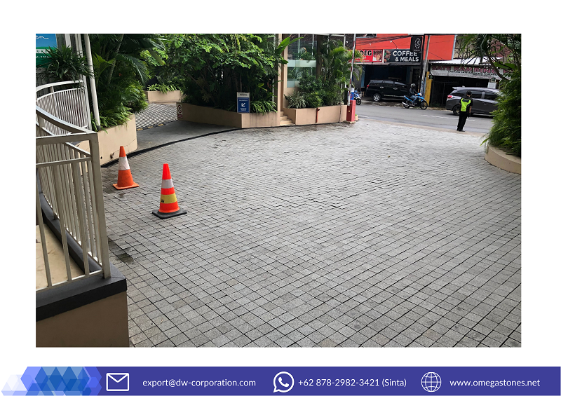 Indonesia Grey Basalt for Durable Outdoor Pavers at Eastparc Hotel Yogyakarta