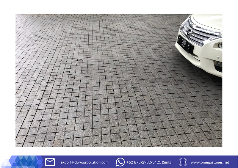 A Comfortable Carport with Grey Basalt Cobble Stone at Eastparc Hotel Yogyakarta
