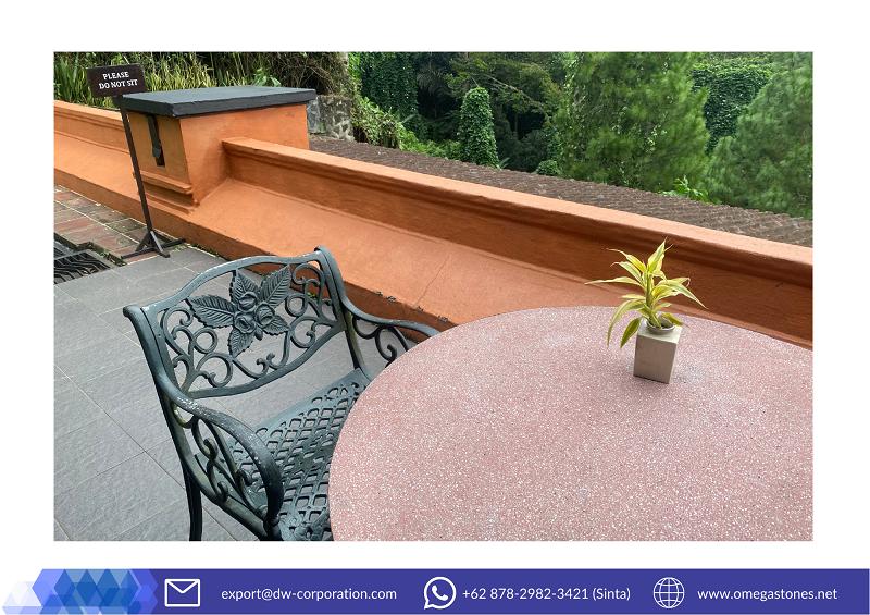 A Comfy Mini-Desk with Bali Pink Terrazzo at MesaStila Spa & Resort, Magelang